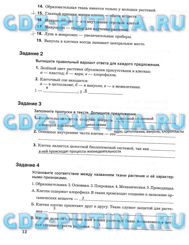 Биология 6 класс гдз пономарёва корнилова