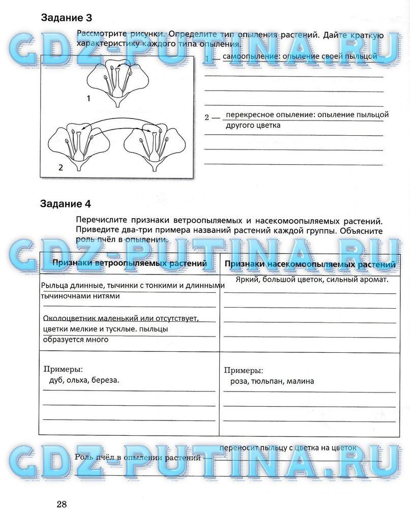гдз биология 5 класс рабочая тетрадь пономарева