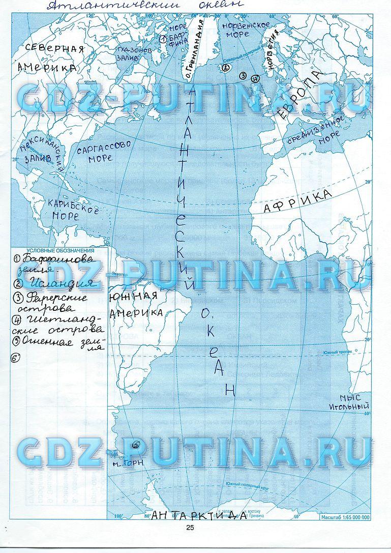 гдз по тетрадь 7 класс контурная карта баринова