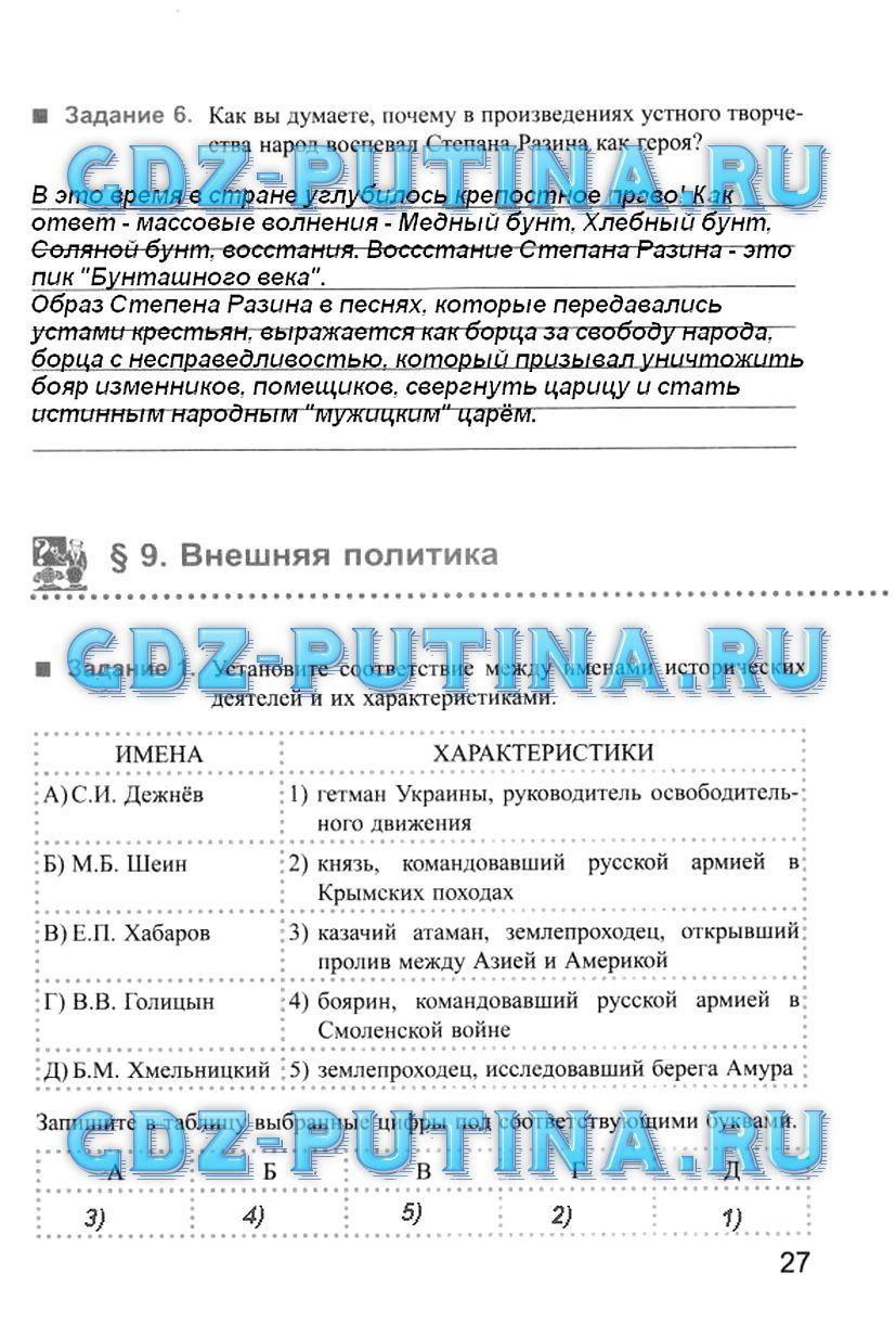 История России Рабочая Тетрадь Е.в.симонова 7 Класс Решебник
