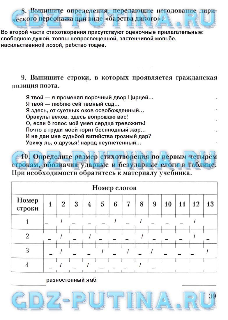 литература 7 класс кочергина д в рабочая тетрадь