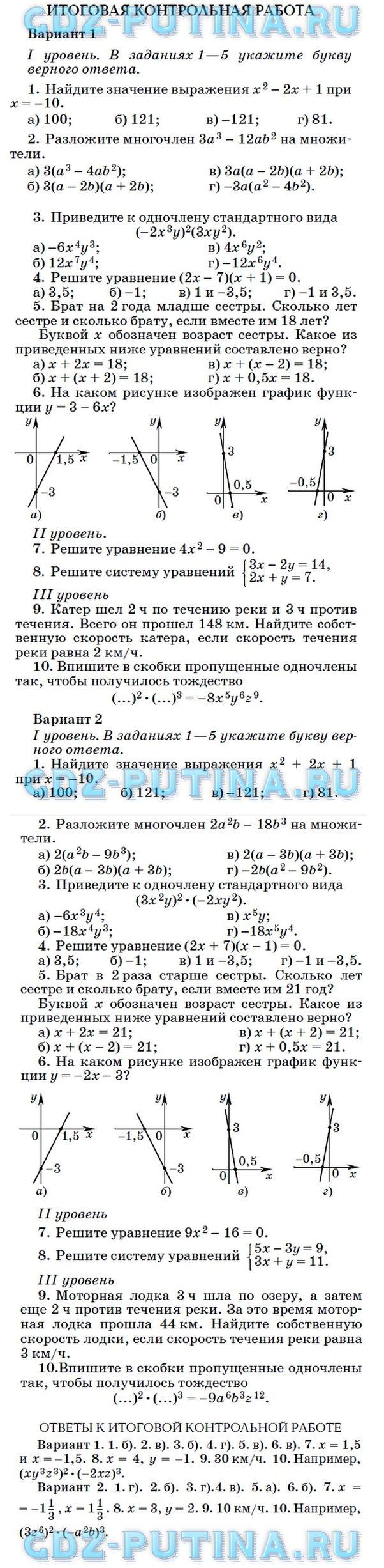 ГДЗ решебник по алгебре класс Муравин Муравин Муравина Итоговая контрольная работа