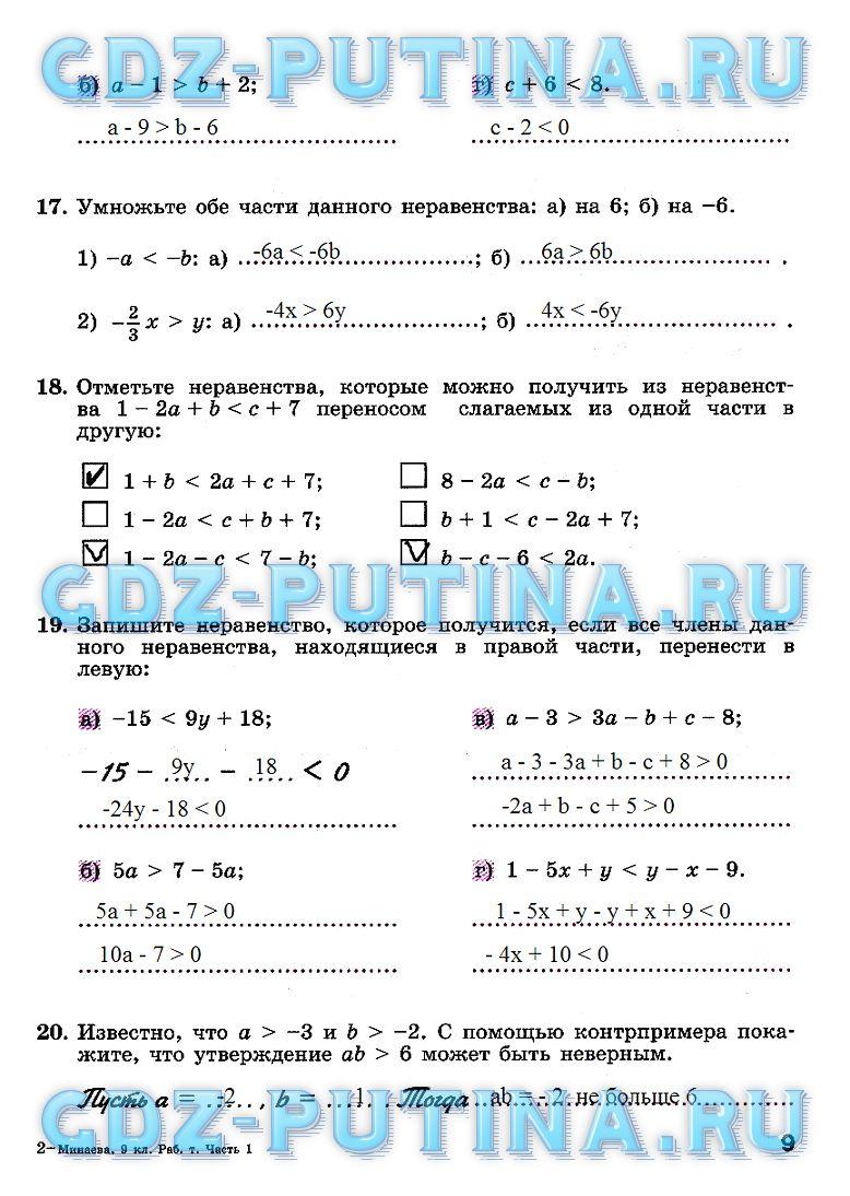 Гдз Алгебра 9 Класс Рабочая Тетрадь Минаева
