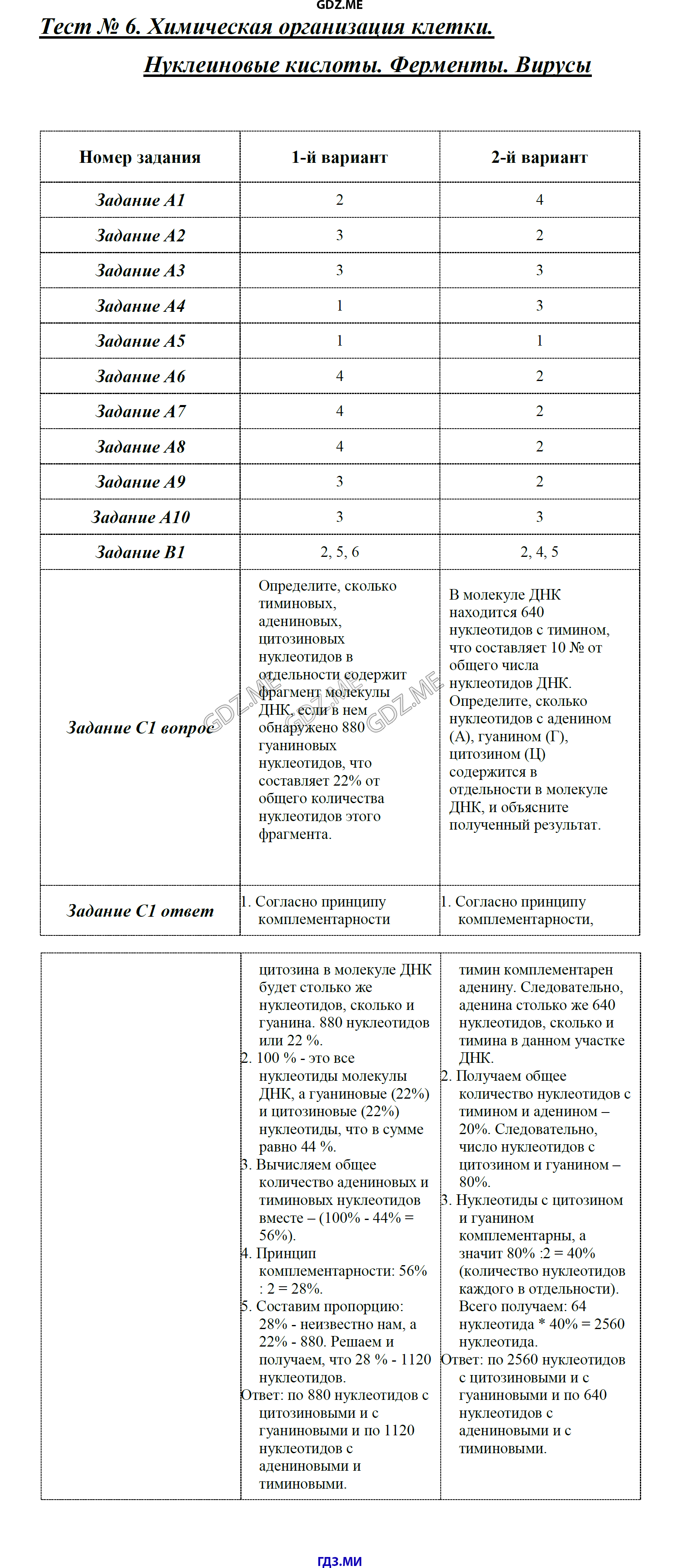 Тест 9 класс по пасечнику клеточный уровень