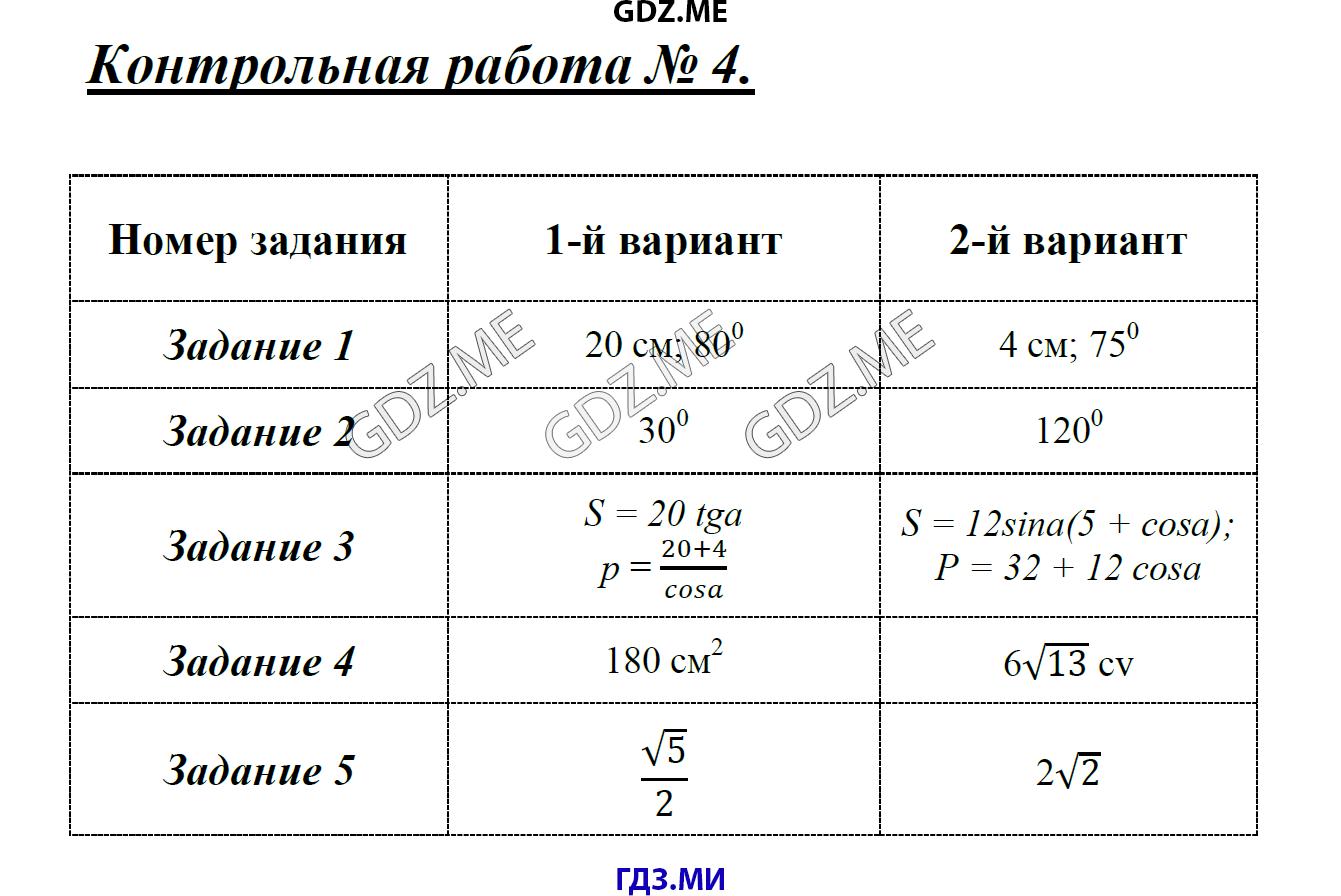 ГДЗ решебник по геометрии класс КИМ Гаврилова  Контрольная работа №4