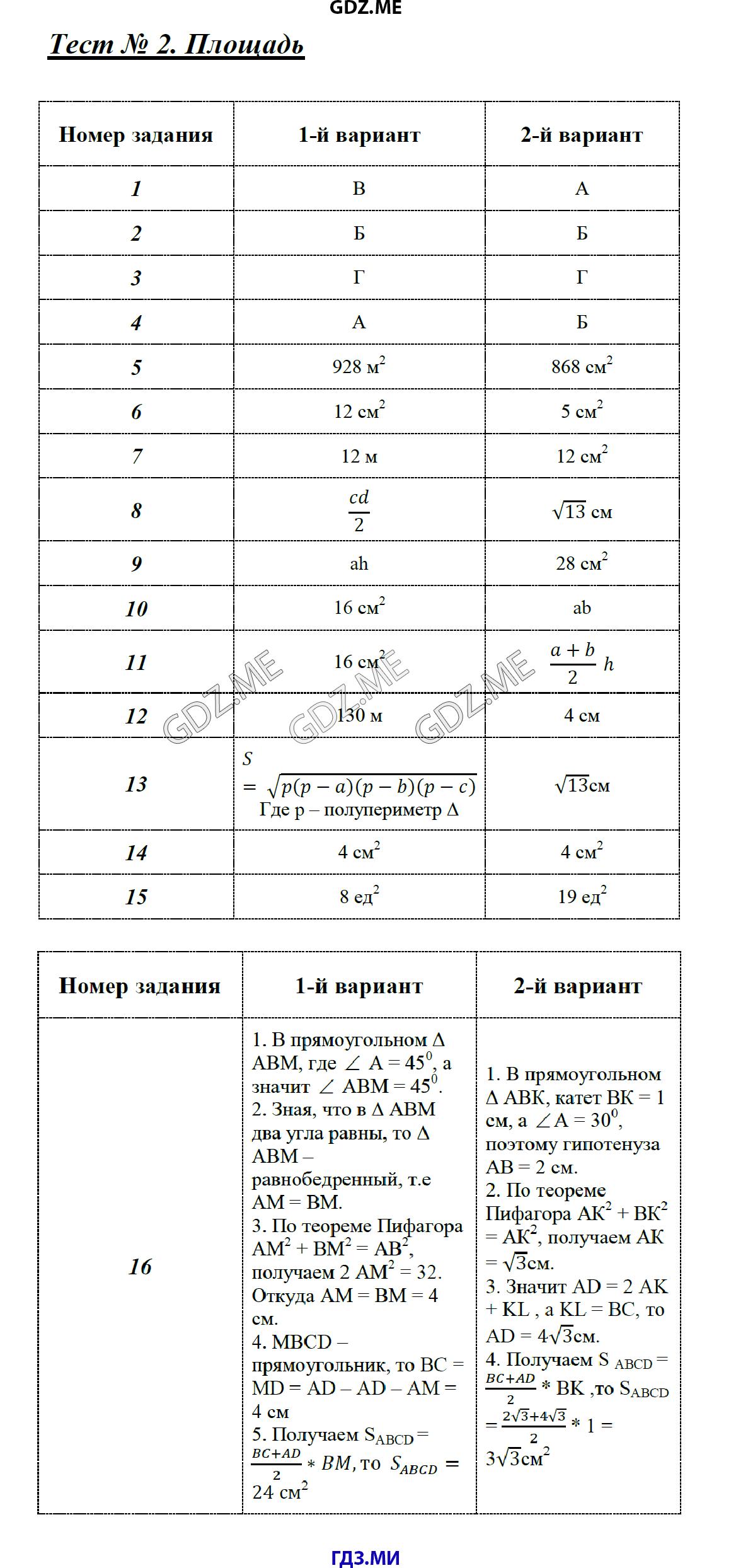 гдз по геометрия тесты 8 класс 2 часть
